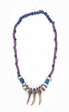 Native American Bear Claw and Beadwork Necklace
