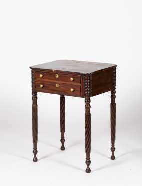 New England Sheraton Mahogany Work Table