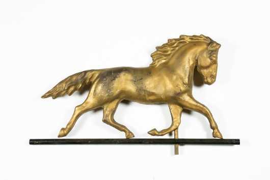 20thC Trotting Horse Copper Weathervane