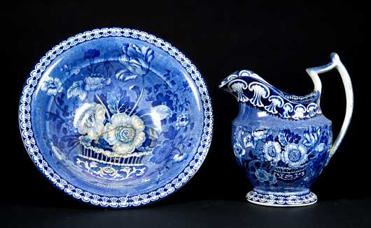 Blue and White Transferware Bowl and Pitcher Set