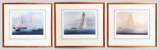 "Three Colored Prints ""The America's Cup"" After Tim Thompson, England (born 1951-)"
