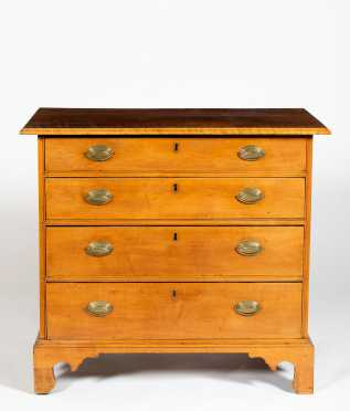 New Hampshire Curly Maple Chippendale Four Drawer Chest