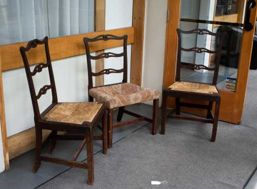 Pair of Chippendale Ribbon Back Chairs and Similar One