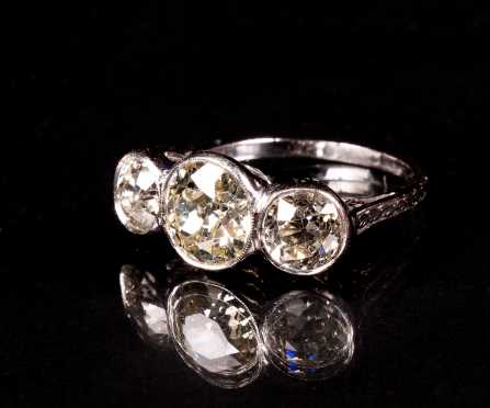 Three Stone Diamond and Platinum Antique Ring