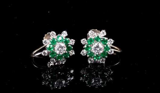 Pair of Diamond and Emerald Flower Form Earrings