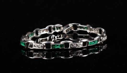 Diamond and Emerald Link Bracelet