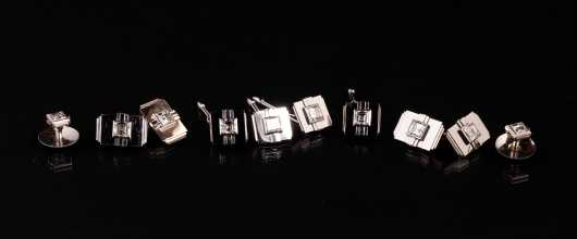 Period Art Deco Diamond and Platinum Mens Eight Piece Set