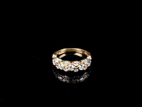Suwa Designer Diamond and 18k Yellow Gold Anniversary Band