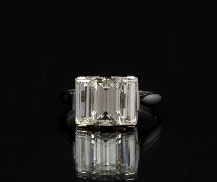 Three Stone Emerald Cut Period Art Deco Platinum Ring