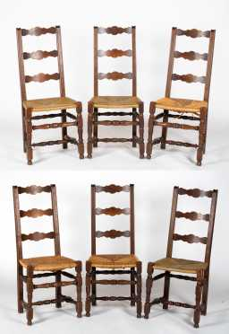 Set of Six Country French Walnut Style Side Chairs