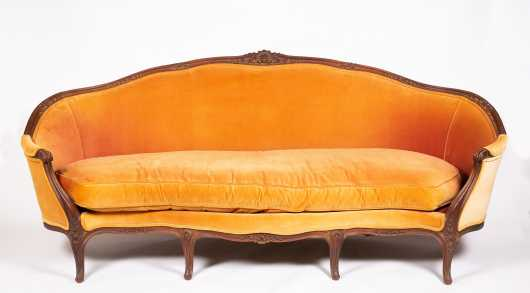 French LXVI Style Walnut Six Leg Serpentine Sofa