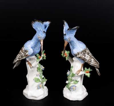 "Pair of Meissen Style Porcelain ""Hoopoe Birds"""