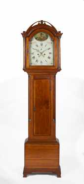 New England Cherry Tall Case Clock with Eight Day Brass Works