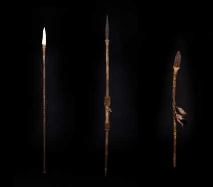 Three Native American Decorated Throwing Spears