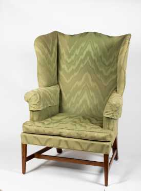 New England Hepplewhite Inlaid Mahogany Wing Chair