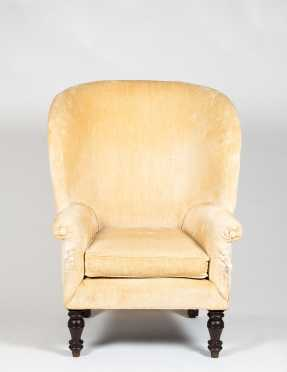 Barrel Back Upholstered Empire Wing Chair