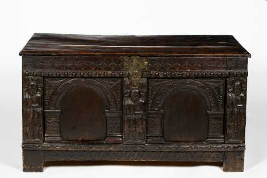 Jacobean Carved Figural Coffer Blanket Chest
