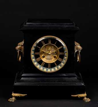 Marble Mantel Clock with French Outside Escapement Works