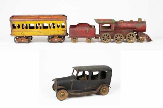 Tin Locomotive and Car Lot