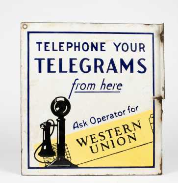 """""""Western Union"""" Wall Mounted Double Sided Metal Sign"""