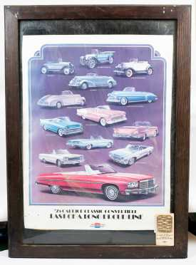 Framed Advertising Broadside- '75 Caprice Classic Convertible