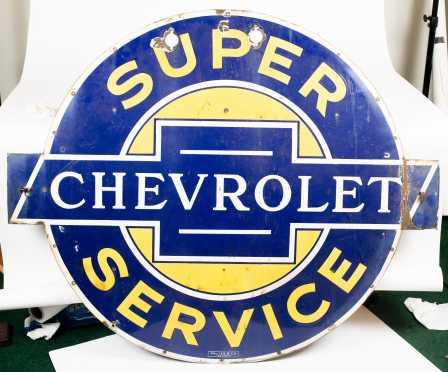 "42"" Diameter Enamel on Steel ""Chevrolet Super Service Sign"""