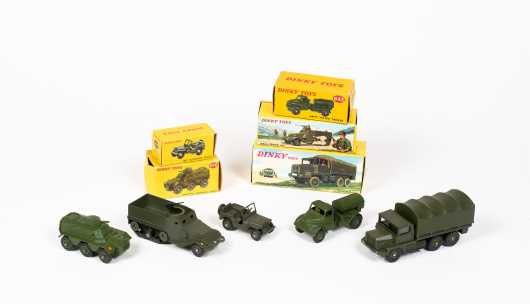 """Lot of Five """"Dinky Toys"""" Military Vehicles"""