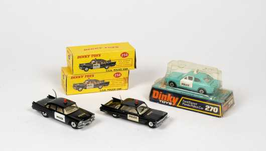 """Lot of Three """"Dinky Toys"""" Police Cars"""