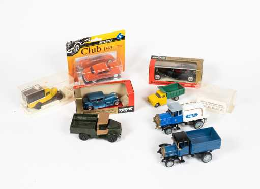 Lot of Eight Cars and Trucks Solido, M-A-N Ester Diesel, Henschel Bauj, Hubley Dump Truck