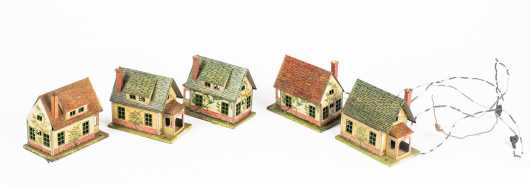 Five Lionel #184 A-1 Metal Houses