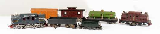 Lionel #380 Red Electric Locomotive with Three Cars