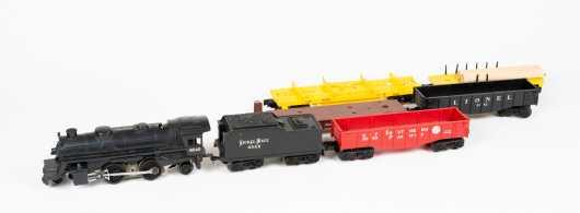 "Lionel ""O"" Gauge Electric Locomotive, Tender #8040 and Five Cars"