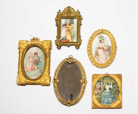 Five Framed Prints and Mirror