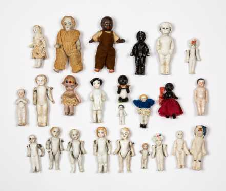 Twenty-Four Miscellaneous Small Dolls and Frozen Charlottes