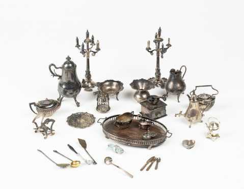 Large Lot of Silver Doll House Accessories