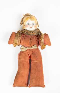 "8 3/4"" Tall China Head Doll,"
