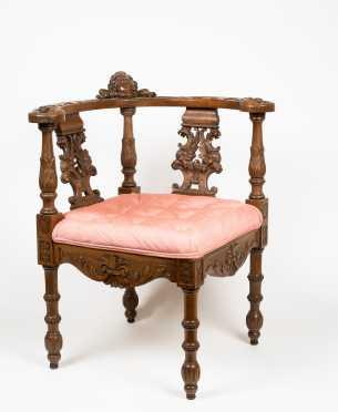 L19thC Carved German Corner Chair