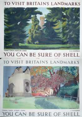 """Two """"Shell"""" British Landmarks Posters"""