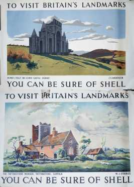 """Two English """"Shell"""" Travel Posters"""