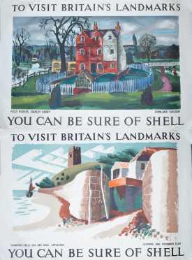 "Two ""Shell"" Britains Travel Poster Landmarks"