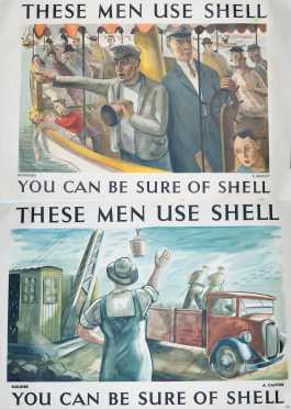 """Two """"Shell"""" """"These Men Use Shell"""" Posters"""