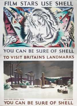 Two British Posters- Landmarks and Film Stars use Shell