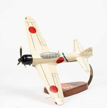 "Mitsubishi Zero Scale Model , 16 1/4"" wingspan, 13"" length"