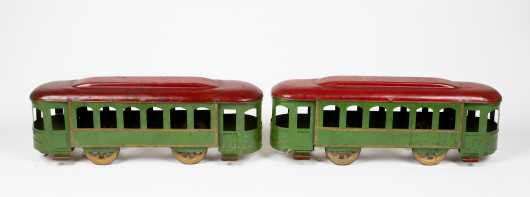Two Tin Cable Trolley Cars
