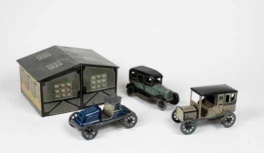 """WB"" Germany Tin Garage with Three Cars"