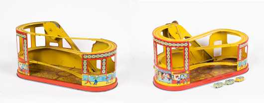 """Two """"J. Chein"""" Tin Roller Coasters"""