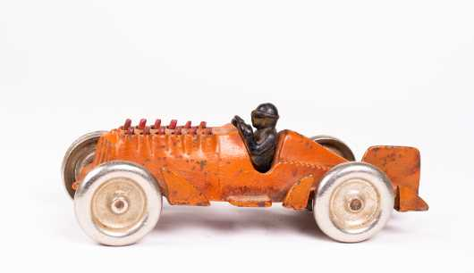 Orange Cast Iron Racer with Moving Pistons Toy