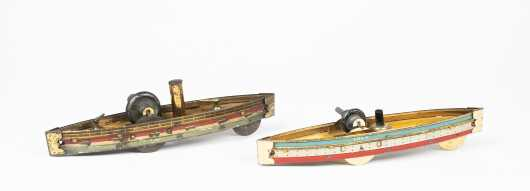 Two Antique German Gravity Run Toy Boats