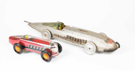 Two Tin Toy Racing Cars