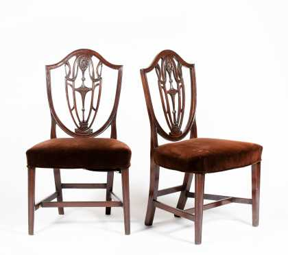 Pair of English Mahogany Hepplewhite Side Chairs